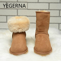 2016 New Fashion Women Men Snow Boots Hot Selling 100 Real Sheepskin Brand Classic Snow Boots