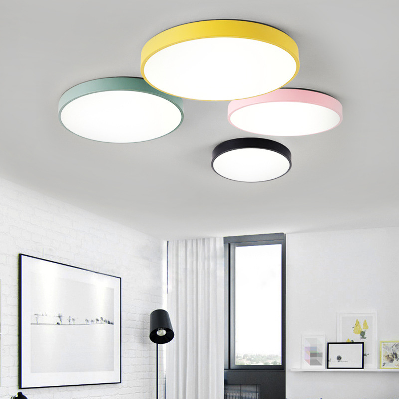 Nordic Simple Round LED Living Room Ceiling Lamp Macarons Color Bedroom Lamp Children Room Study Decoration Lamp Free Shipping creative art aircraft ceiling lamp bedroom living room eye protection light children room cartoon decoration lamp free shipping