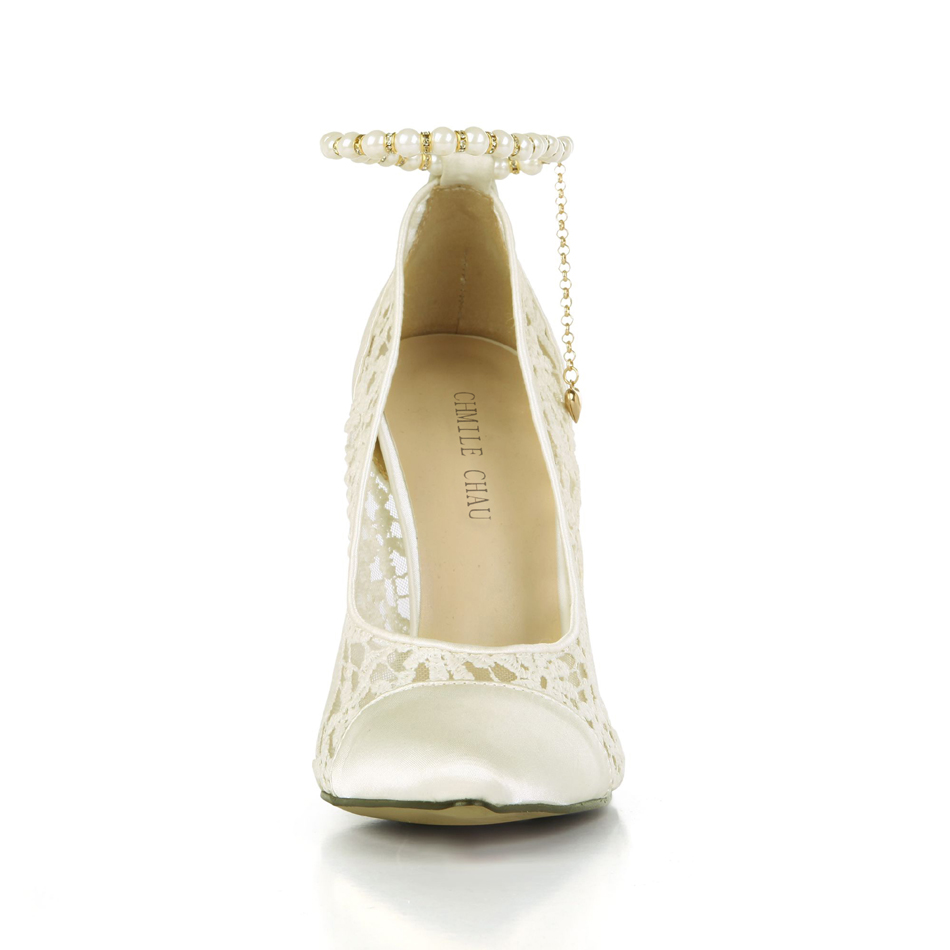 CHMILE CHAU Sexy Wedding Party Shoes Women Pointed Toe Stiletto High Heels Pears Chain Strap Ladies Pumps Zapatos Mujer 0640 f4 in Women 39 s Pumps from Shoes