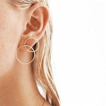 1 par de pendientes minimalistas con números arábicos de 8 formas para mujer, Color de personalidad, doble Pendiente de círculo, joyería E598