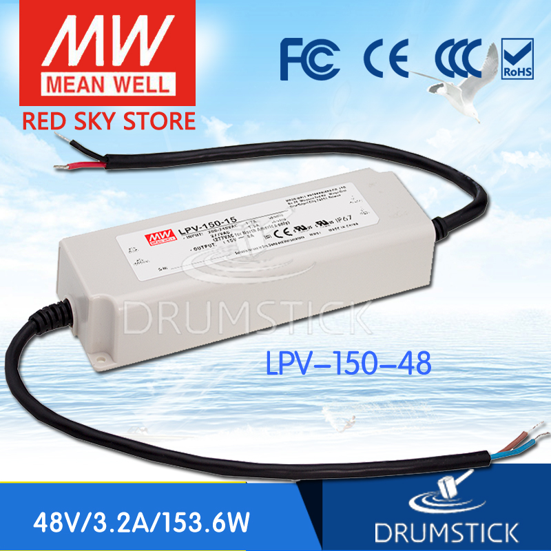 Hot sale MEAN WELL LPV-150-48 48V 3.2A meanwell LPV-150 48V 153.6W Single Output LED Switching Power Supply selling hot mean well lpv 150 15 15v 8a meanwell lpv 150 15v 120w single output led switching power supply