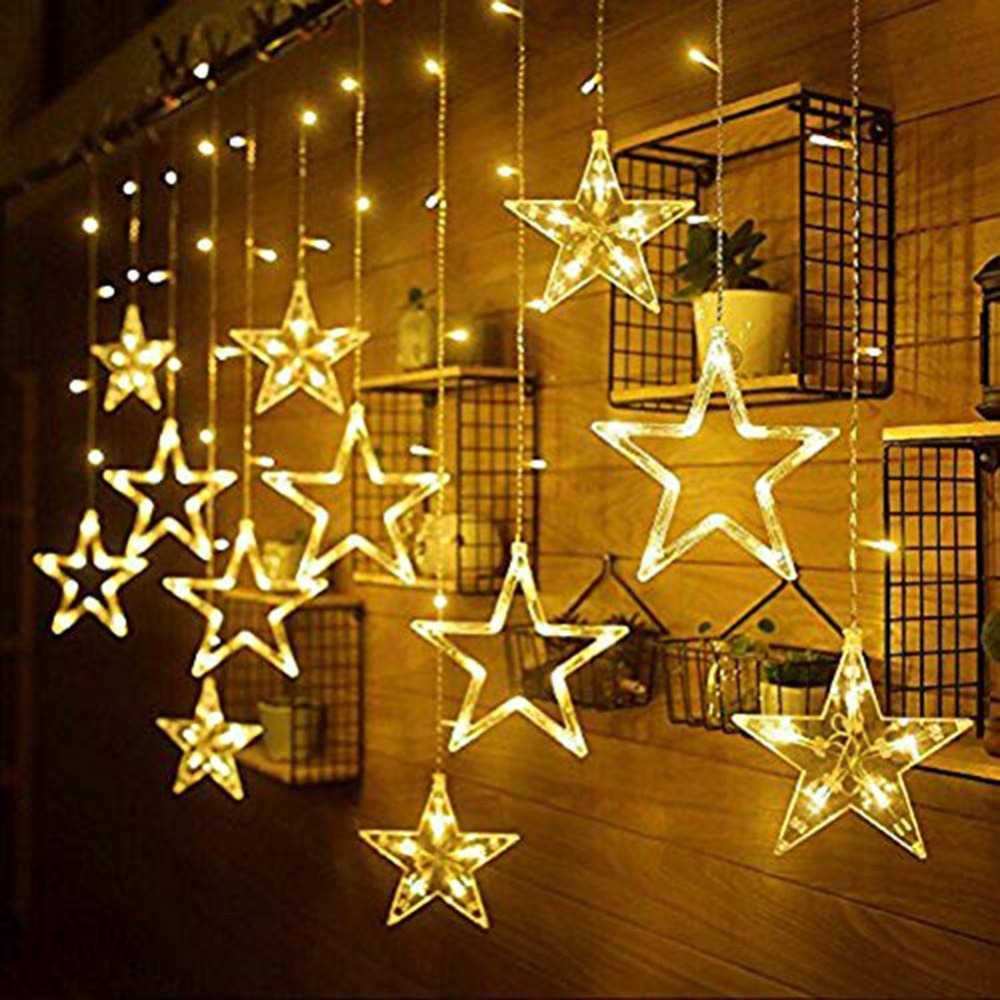 Romantic 138 LEDs Curtain String Lights Window Curtain Star Lights with 8 Flashing Modes Decoration Christmas Wedding Party Home