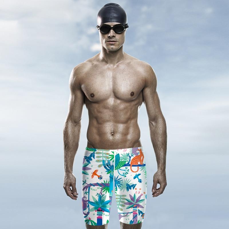 23e28be729 Tropic Printed Knee Length Jammers Swimwear Mens Swim Swimming Trunks Male  Beach Bathing Suits 2018 DBO