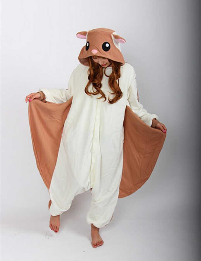 Летящая белка комбинезоны пижамы взрослых мультфильм костюмы для косплея  костюм для сна унисекс животных Вечерние вечернее b8acc86c187a6