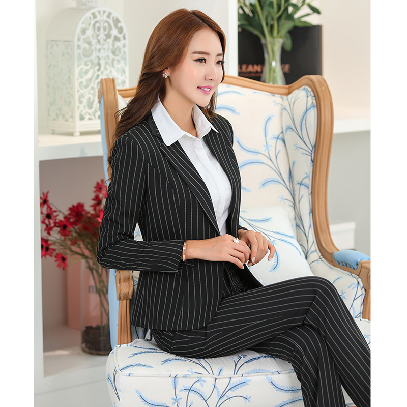 2017 New Winter Formal One Button Striped Women Pant Suits Trousers And Blazer Sets Striped ...