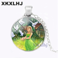 XKXLHJ 2018 New Girl With Pigeon Necklace Peace Pendant Round Hand Craft Jewelry Glass Dome Art Printed Necklaces Pendants