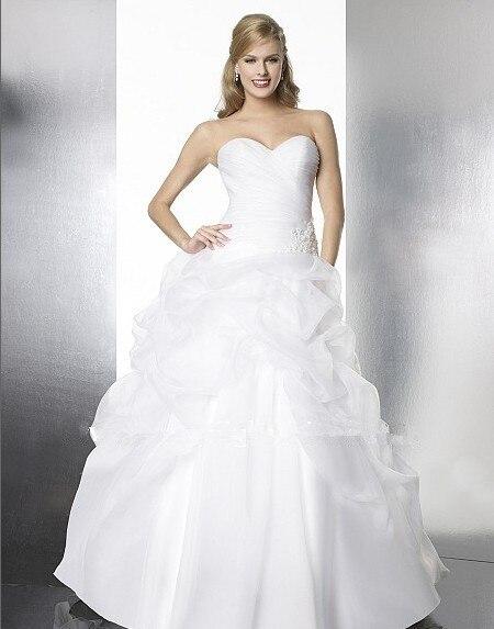 free shipping vestido de noiva plus size custom organza ball gown features soft pick ups Subtle beaded applique wedding dress