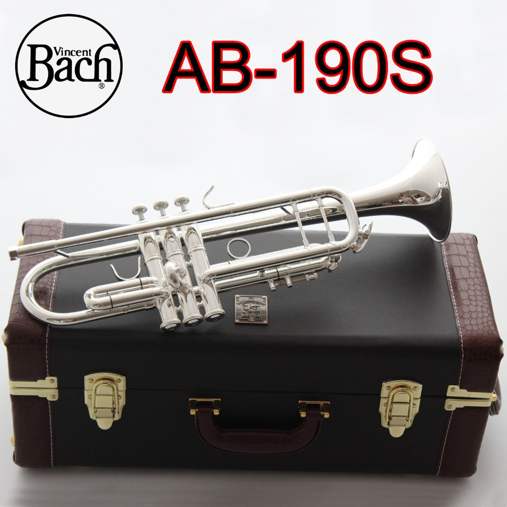 American Bach AB190S Trumpet Silver Plated Gold Bach Trumpete Professional Musical Instruments With Case Free Shipping