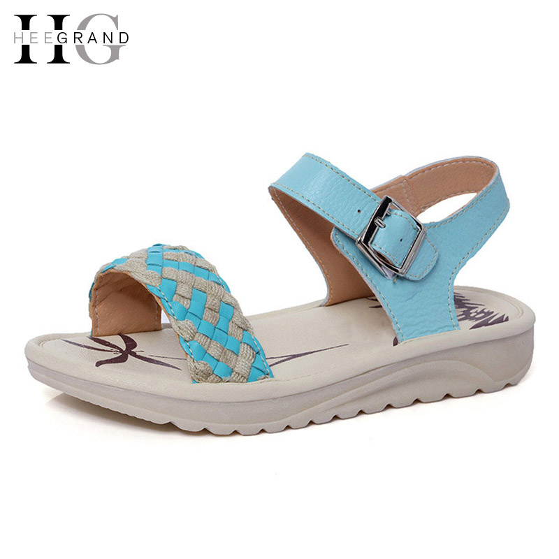 HEE GRAND Summer Platform Sandals PU Leather Shoes Woman 2017 New Comfort  Beach Women Shoes 35-40 XWZ3913 hee grand casual wedges sandals 2017 summer beach women shoes platform buckle comfort creepers fashion shoes woman xwz3812
