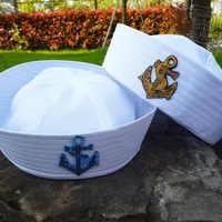 Weiß Kind Sailors Schiff Boot Kapitän Hut Navy Marine Kappe Mit Anker Meer Bootfahren Nautischen Phantasie Kleid Krankenschwester Hut Militär hüte