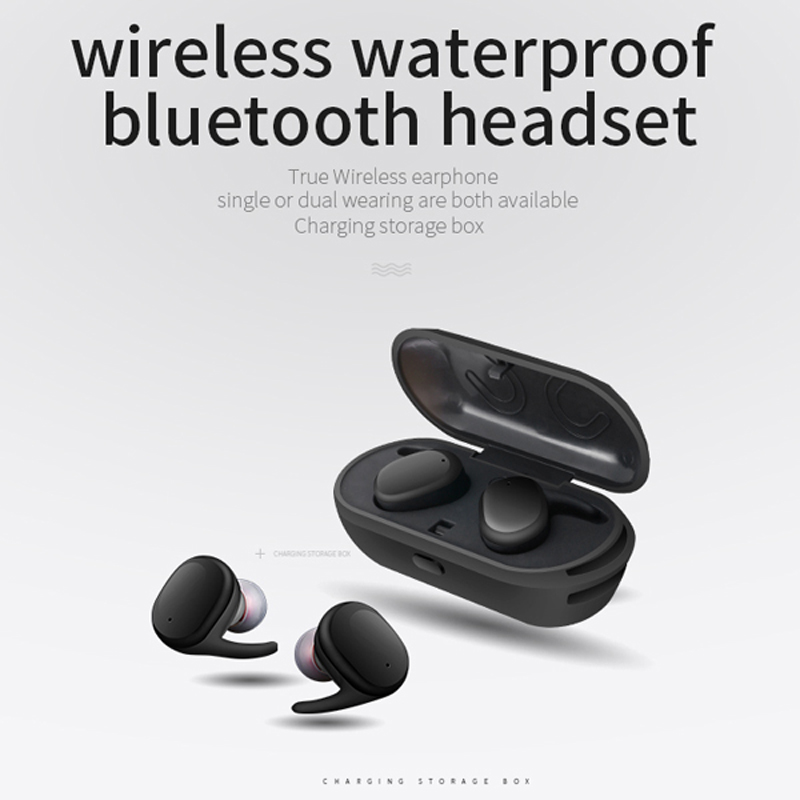 TWS9100 Waterproof TWS Bluetooth Earphone Wireless Earbuds 3D Stereo sport running With charge box Microphone Auto charging