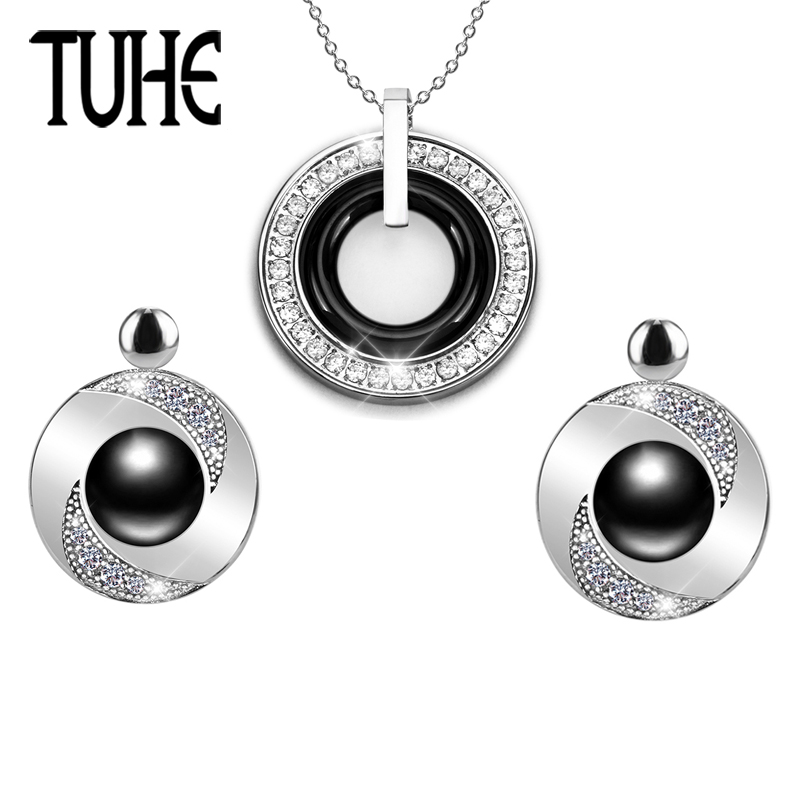 New Classic Black White Ceramic Jewelry Set Wedding Party For Women Lady Round Stud Earrings And Double Layer Circle Necklace a suit of stylish rhinestone interlink circle necklace and earrings for women