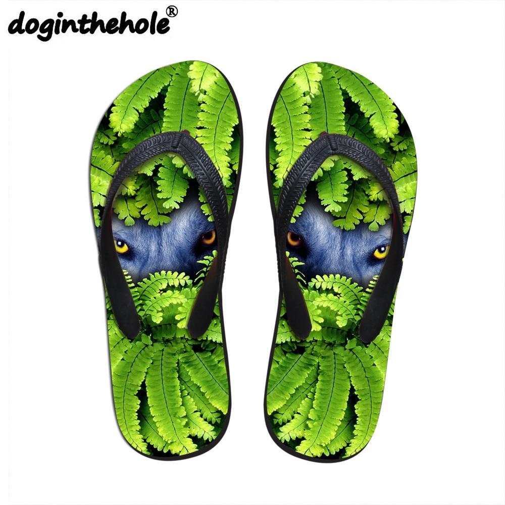doginthehole Men's Flip Flops Flats Sport Sandals Cool Wolf Leaves Pattern Outdoor Sport Sandals Summer Beach Shoes Sneakers