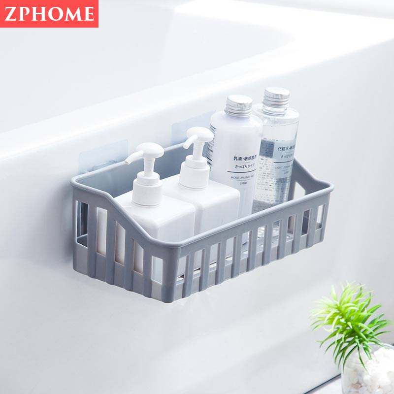 Bathroom shelf wall hanging bathroom vanity seamless kitchen toilet wall-free punching bathroom storage