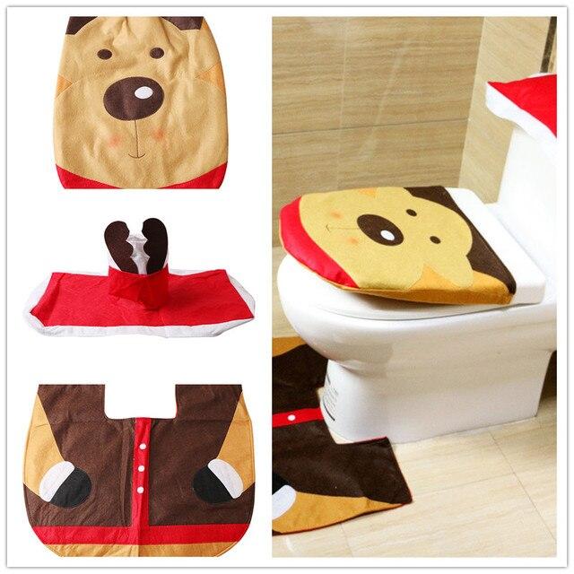 1 Set Di Natale Toilet Seat Cover Toilet Seat Mat Bagno Set Partito Decorazioni FAI DA TE