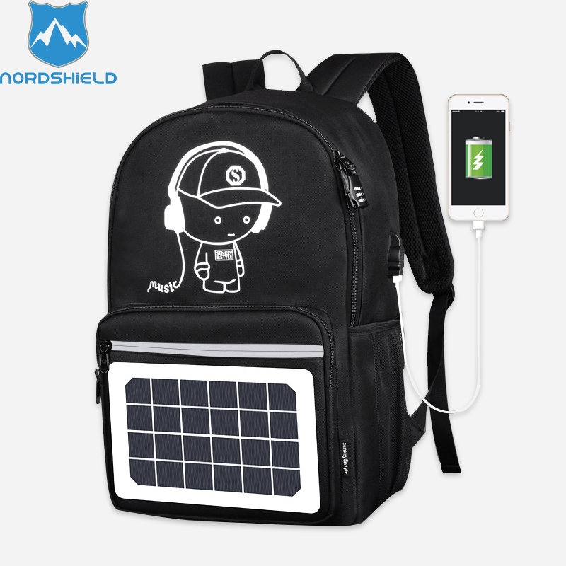Nordshield USB Solar Charge Backpack for Teenager School Bag 15.6 inch Fashion Waterproof Men Travel Backpack Mochila Escolar nordshield usb solar charge backpack for teenager school bag 15 6 inch fashion waterproof men travel backpack mochila escolar