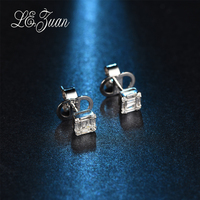 L Zuan New 0 7ct Diamond Stud Earrings For Women Emerald Shape 18k Platinum Earrings Valentine