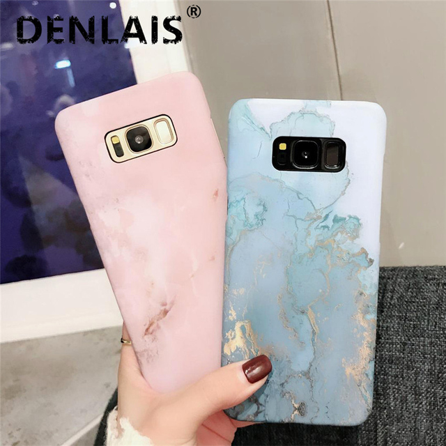 new photos ce72b a9383 Fashion Pink Blue Marble Case For Samsung Galaxy S7 Edge S8Plus Case Ocean  Granite Stone Hard Phone Cases For Galaxy S8 S9 Plus