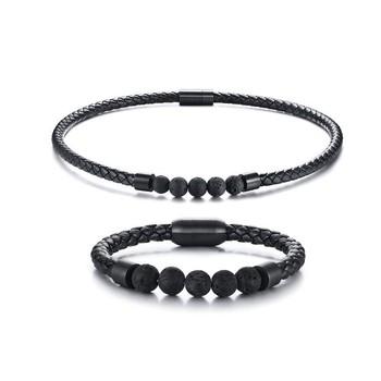 Męskie męskie Boho Hippie zestaw biżuterii Lava Rock plecione skórzane Choker naszyjnik i bransoletka męskie akcesoria tanie i dobre opinie mprainbow STAINLESS STEEL CN (pochodzenie) Mężczyźni TRENDY 1pcs necklace +1 pcs bracelet Naszyjnik Bransoletka moda