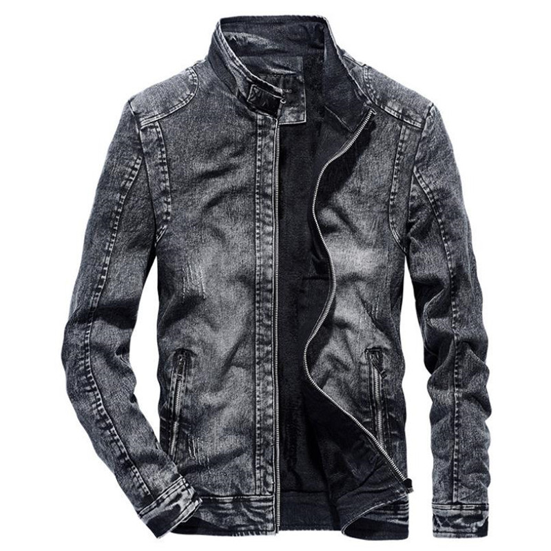 New Spring And Autumn Men's Denim Jacket Casual Solid Color Jacket Fashion Vintage Cotton Jacket Coat Top