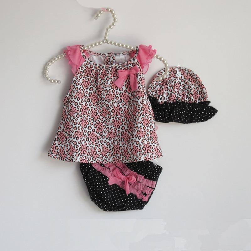 LILIGIRL Summer Baby Girl Clothing Sets Halter Romper + Shorts + Sun Hat Leopard Kids Girls Beach Clothes