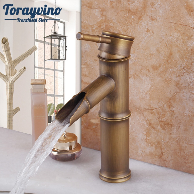 цена на Contemporary Antique Brass Faucets Bathroom Sink Basin Faucet Mixer Water Tap Deck Mounted Cold&Hot Water Kitchen Mixer Tap