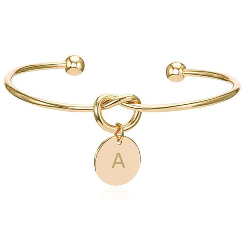 Customized Personalized Initial Knot Bracelet 26 Letters Opening Bangle Silver/ Gold/ Rose Gold ...