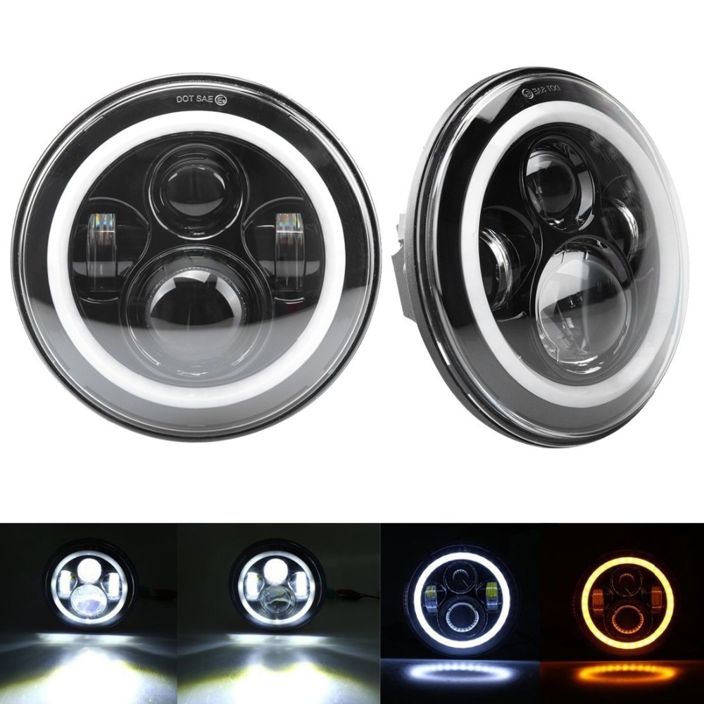 2pcs 7 Inch Headlights with White Halo Ring Angel Eyes+Amber Turn Signal Halo For Jeep Wrangler JK TJ CJ faduies 7 inch round led headlights white halo ring angel eyes amber turning signal lights for jeep wrangler jk tj cj