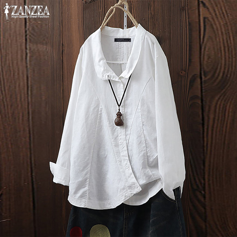 Vintage Womens Cotton Linen   Blouse   2019 ZANZEA Plus Size Woman Tunic Irregular Tops Chemise Long Sleeve   Shirts   Pleated Blusas