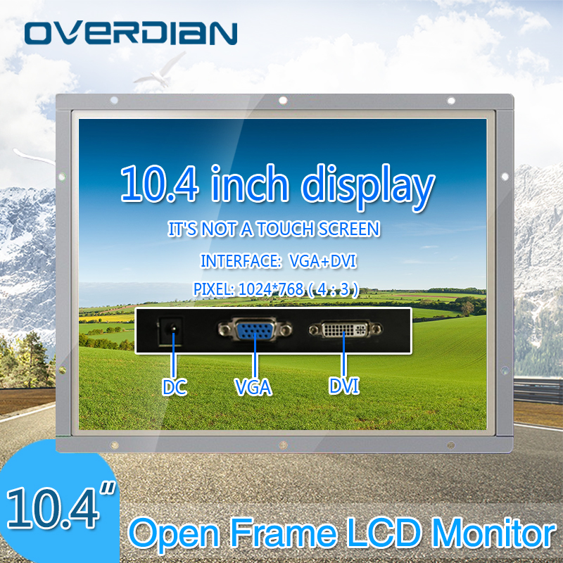 10/10.4Industrial Control Lcd Monitor VGA/DVI Interface White Open Frame Non-Touch Metal Shell 1024*768 8 8 4 inch vga dvi interface non touch industrial control lcd monitor display metal shell buckle card installation 4 3