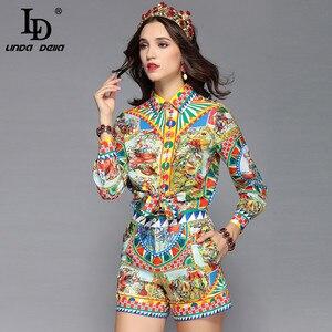 Image 2 - Ldリンダデラ滑走路デザイナーカジュアル休日休暇ショーツセット女性の長袖プリントブラウス + ショーツ二枚セットスーツ