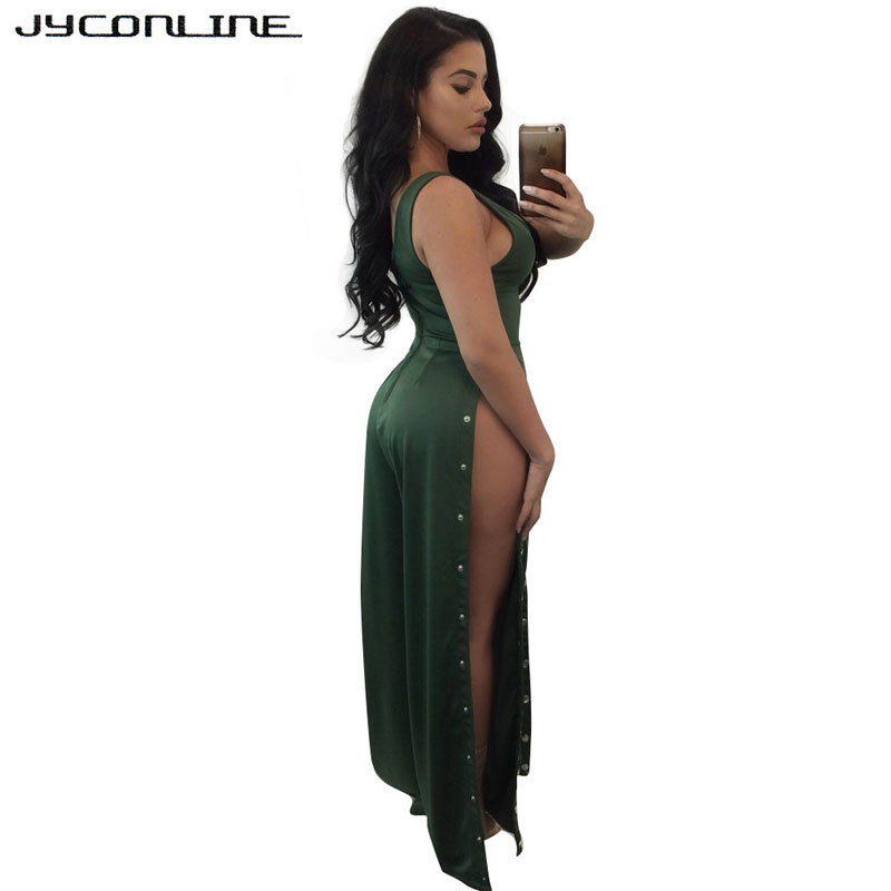 16b23133d9fe JYConline Sexy Split Wide Leg Women Jumpsuit Button Sleeveless Overalls  Female Rompers And Jumpsuit Night Club Playsuit Bodysuit-in Jumpsuits from  Women s ...