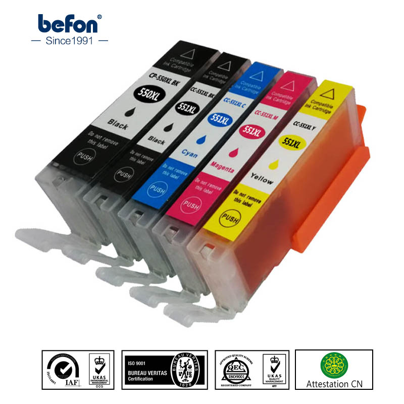 befon Cartridge Replacement for Canon PGI550 CLI551 PGI 550 CLI 551 PGI-550 CLI-551 XL Ink Cartridge For PIXMA IP7250 MG5450 cartridge chip resetter for canon pgi 650 cli 651 for canon ip7260 ip8760 mg7160 mg5460 mg5560 mg6360 mg6460 mx726 mx926 ix6860
