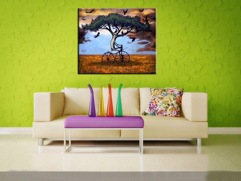 Peinture à la main moderne maison mur œuvre décor plante arbre Esao Andrews amérique peinture à la main grandir sur le vélo toile peinture à l'huile