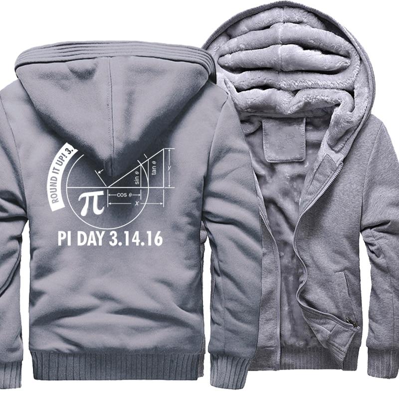 Fashion Streetwear Harajuku Hoodie 2018 Winter New Fleece Thick Sweatshirt Print Pi Day 3.1416 Round It Up Math Graph STEM Hoody