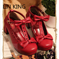 LIN KING Low Top Buckle Women Party Pumps Chunky Heels Ankle Straps Bowtie Platform Cosplay Maid Shoes Sweet Lolita Shoes