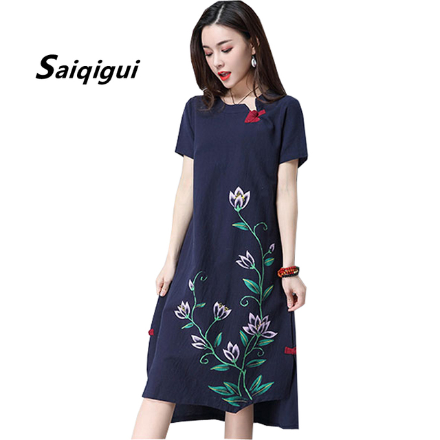 2330eb4e2306f Saiqigui 2018 new fashion Chinese Style Short sleeve Linen dress casual  loose cotton Summer dress Print