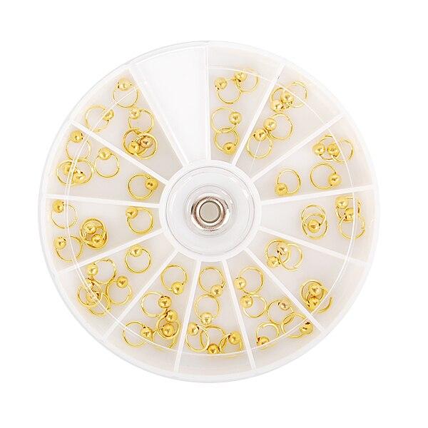 55pcs/set Nail Art Dangle Ring Silver Gold Bead Nail Charm Decors Nail Art Decoration 2 Colors бусы art silver цвет черный чг16 55 740