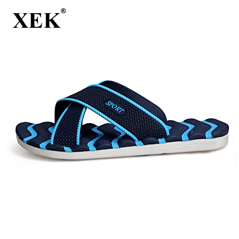 XEK Men Slippers Summer Non-slip Massage Fashion Man Casual Plus Size High quality Soft Fashion Beach Shoes Flat Flip Flops XC19 lanshulan bling glitters slippers 2017 summer flip flops platform shoes woman creepers slip on flats casual wedges gold