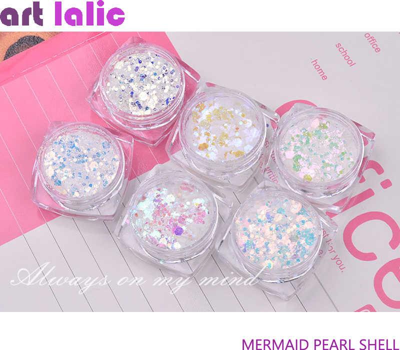 Caixa 1 Aurora Aurora Prego Lantejoulas Sereia Fatia Misturada Flocos Hexágono Glitter Em Pó Ultra-fino 3D Espumante Nail Art decoração