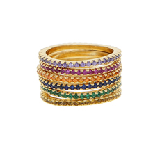 Colorful cz eternity band ring thin skinny engagement band birthstone rainbow color classic simple round circle finger rings