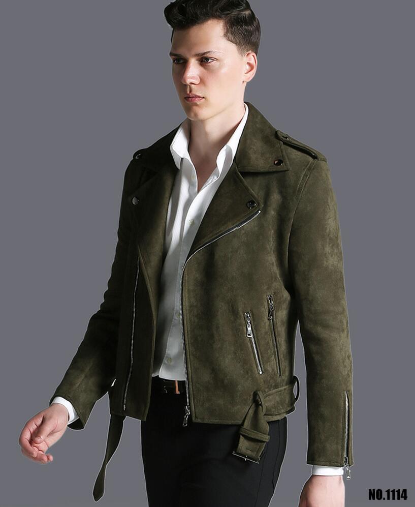 Короткая мужская куртка осень зима, новая модная армейская зеленая замшевая Повседневная куртка с отворотом, мужская верхняя одежда! S 3XL - 3