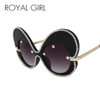 ROYAL GIRL Sunglasses Women Fashion Oversized Luxury Rhinestones Brand Designer Lady Big Frame Butterfly Glasses Oculos
