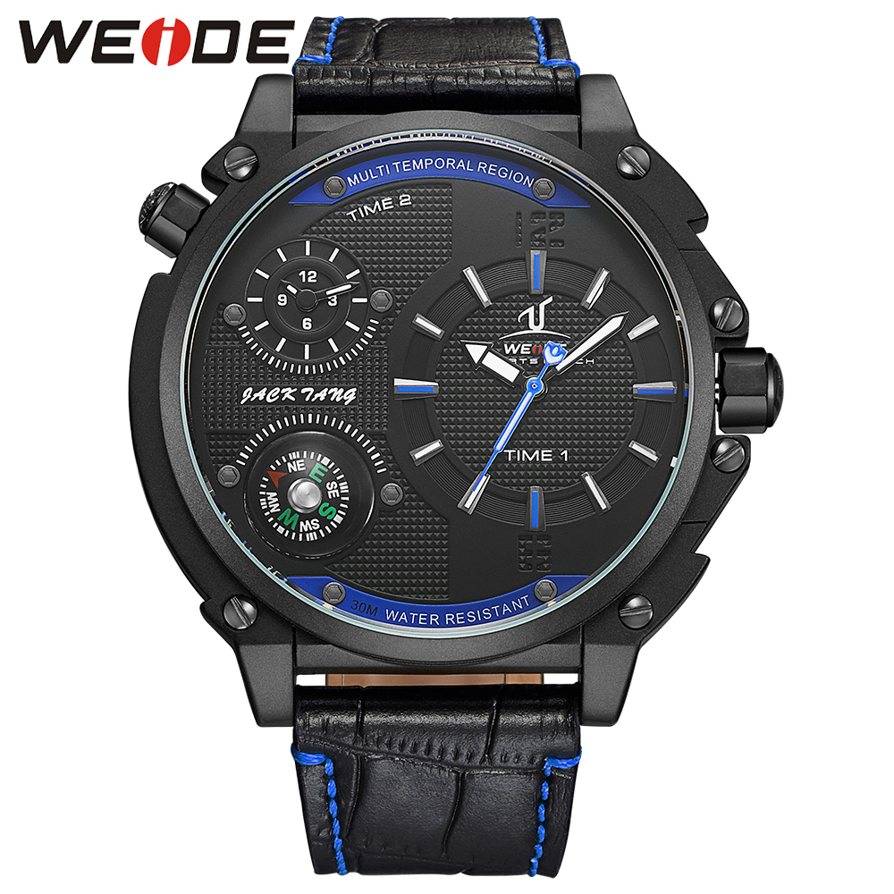 WEIDE Mens Sport Watches Compass Black Blue Dial Leather Strap Buckle Waterproof Analog Display Quartz Movement Watches weide men watches clock analog quartz movement calendar date black leather strap band buckle hardlex wristwatches for sport