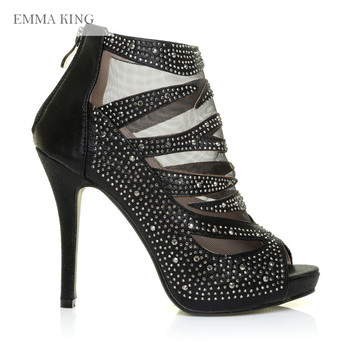 EMMA KING Sexy Lace Side Zipper Sandals Womens Thin High Heels Hollow Out Crystals Flock Fashion Autumn Party Shoes Size 35-43