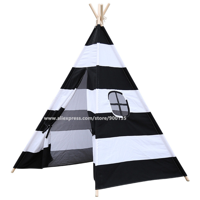 Horizontal Black and White Stripes Indoor Children Hideaway Game Wigwam Tent  sc 1 st  AliExpress.com & Aliexpress.com : Buy Horizontal Black and White Stripes Indoor ...