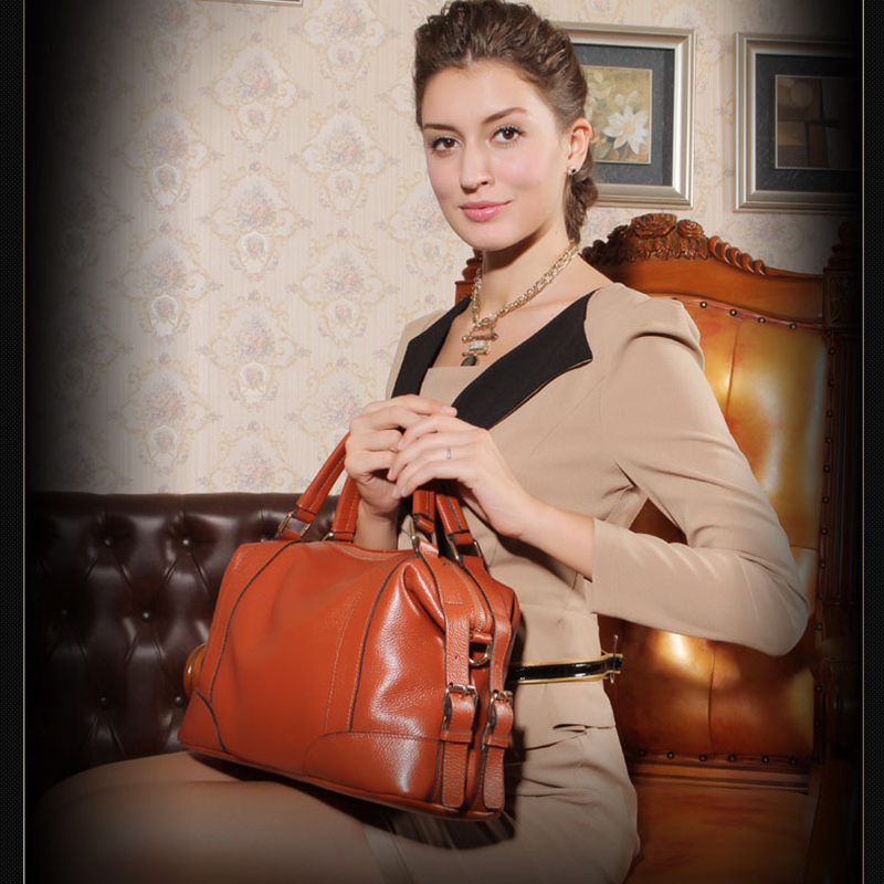 European Style Genuine Leather Woman Casual Handbag Leisure Travel Soft Cow Leather Zipper Top-handle Bag Fashion Shoulder Bags brand woman handbag genuine leather designer bag fashion casual tote top soft cow leather shoulder bags for women bolsos mujer