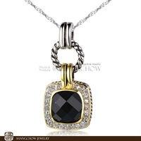 جديد خمر في الأزياء والمجوهرات الأسود الجزع الكوارتز 925 فضة اكمال الذهب الأبيض سيدة قلادة P0392