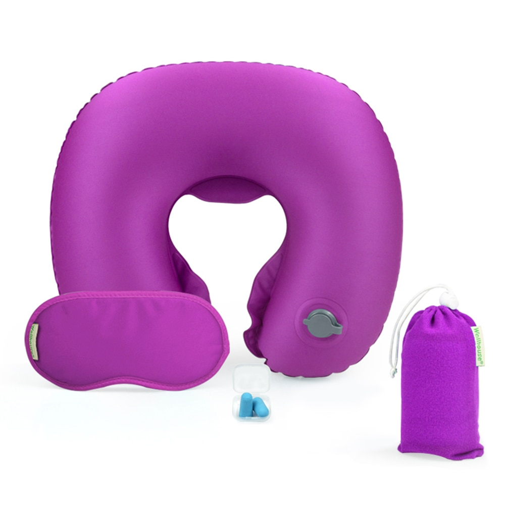 Inflatable Neck Pillow Airplane Travel Kit Outdoor Travelling Pillows for Hiking Trekking with Sleep Mask Ear Plug Carry Bag