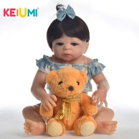 KEIUMI Silicone Baby Dolls Real Reborn Dolls Toy With Handmade Clothes Reborn Baby Full Body Silicone Toy For Girl